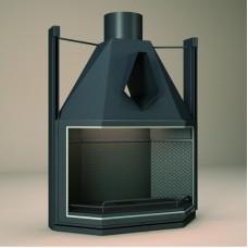 Foyer Insert FV FV10 | Encadrement Vitre de Porte INOX | Porte Prismatique à 3 faces | puissance 10KW | rendement 58%