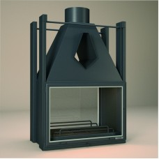 Foyer Insert FV FV20 | Encadrement Vitre de Porte INOX | Double Face (2 Portes : 1 à chaque face) | puissance 10KW | rendement 58%