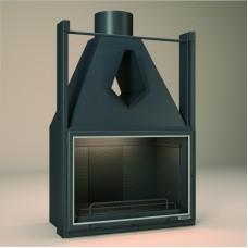 Foyer Insert FV FV50 | Encadrement Vitre de Porte INOX | Une Grande porte Vitrée | puissance 9KW | rendement 56%