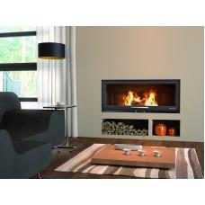 Cheminée BV120 | Couleur Anthracite | avec Pieds | panoramique | Porte guillotine Encadrement Inox | Foyer acier